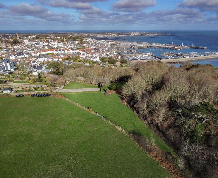 View from the top of Le Val des Terres towards St Peter Port on Guernsey's east coast