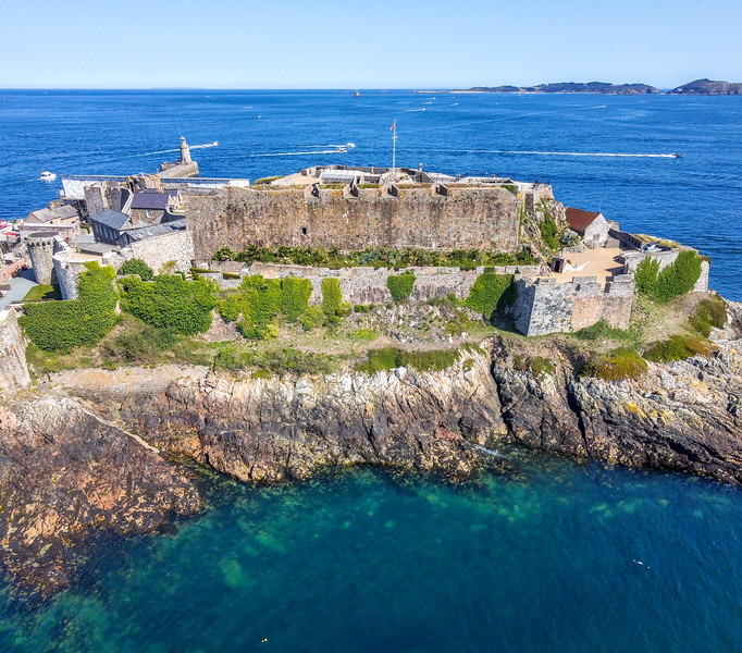 Castle Cornet at the entrance to St Peter Port harbour on 13th September 2020