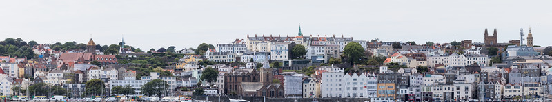 Panoramic view of St Peter Port from Castle Breakwater