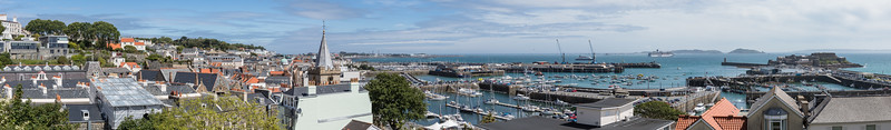 St Peter Port and St Peter Port harbour from Mignot Plateau