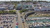 Weighbridge roundabout, with a portion of the North Beach car park and the QE II marina in St Peter Port, Guernsey