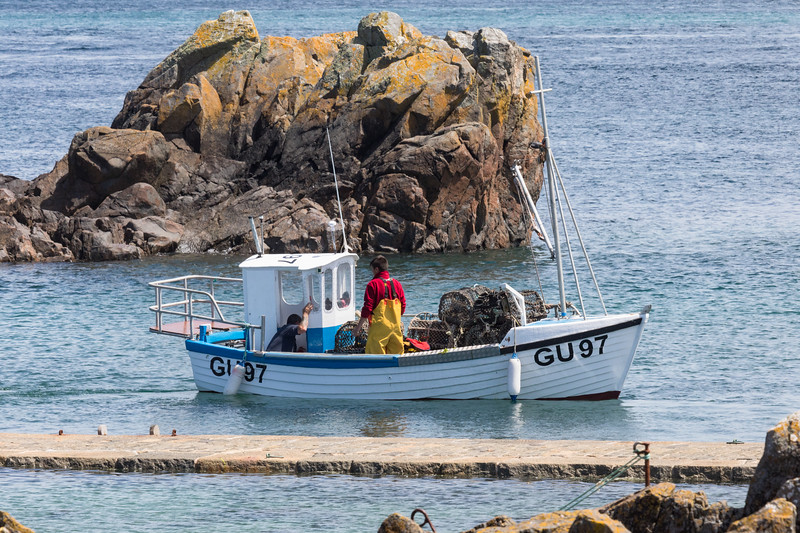 Guernsey crab fishing boat departing the quay at Bordeaux