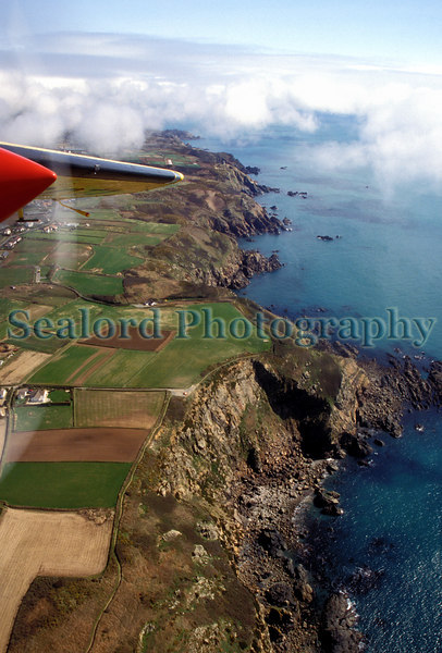 Guernsey's south coast cliffs from the air