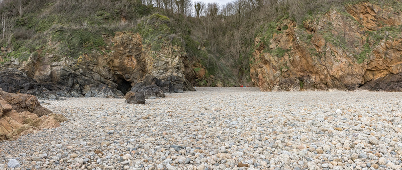 Soldiers' Bay pebble and cobble beach on Guernsey's east coast on 10th February 2021