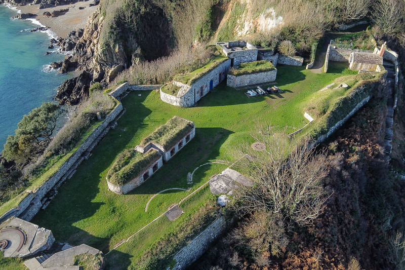 Clarence Battery with Soldiers' Bay in the background on Guernsey's east coast on 1st December 2020