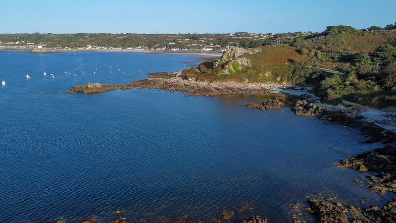 Guernsey's south-west coast with Rocquaine Bay in the distance