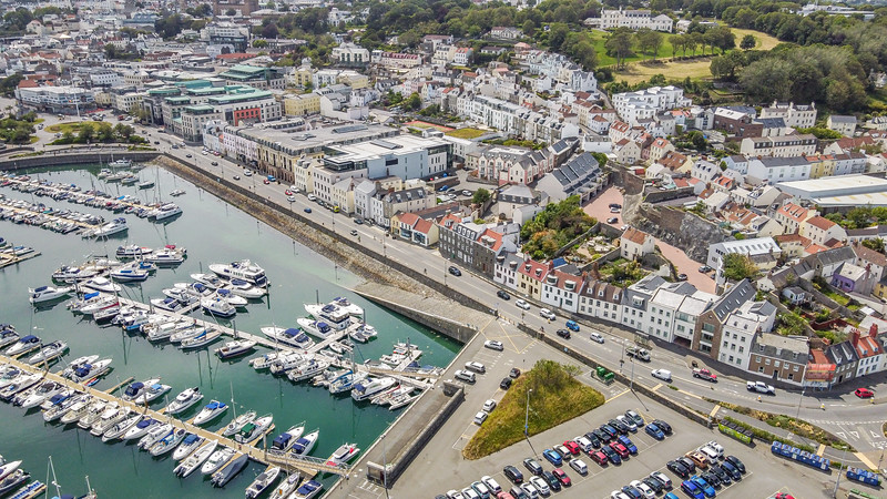 Glategny Esplanade with a part of the QE II marina and Salerie Corner car park in St Peter Port