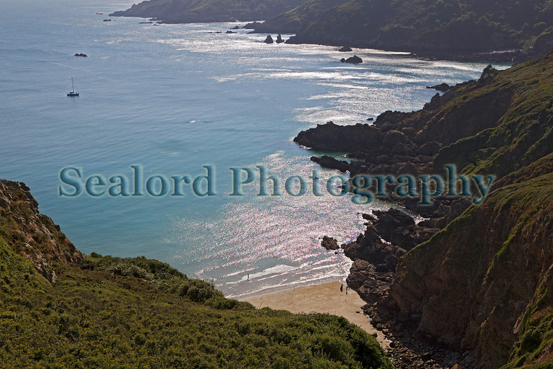 Guernsey south coast cliffs Moulin Huet 090713 ©RLLord 7056 smg