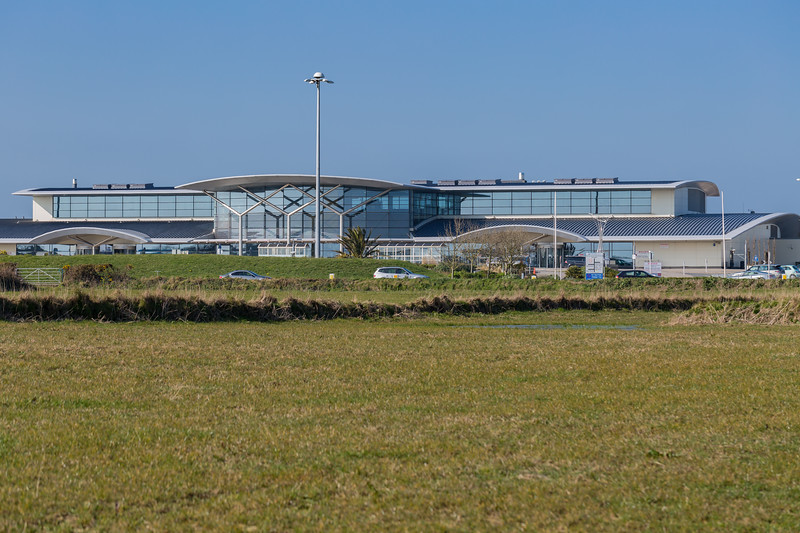 Guernsey Airport Terminal from Le Gouffre