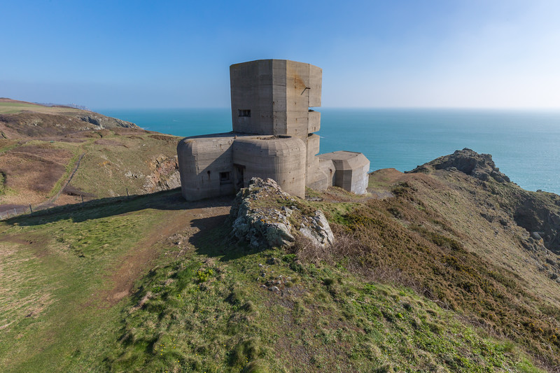 World War Two German observation tower on Guernsey's south coast cliff