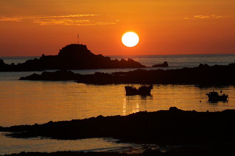 Cobo Bay at sunset on 9 July 2015