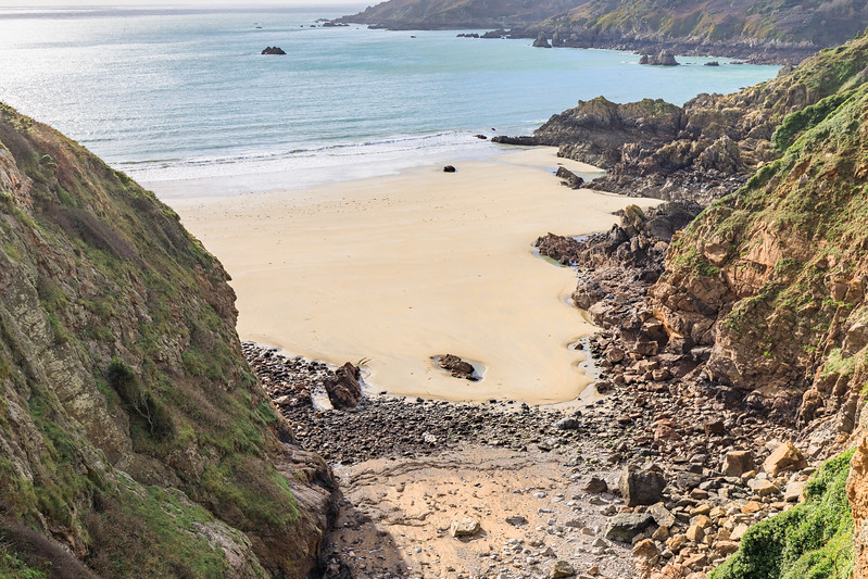 Petit Port bay at low tide on Guernsey's south coast