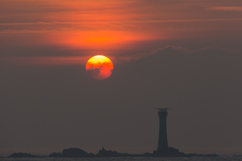 Hanois Lighthouse with the sun setting on 12 March 2016