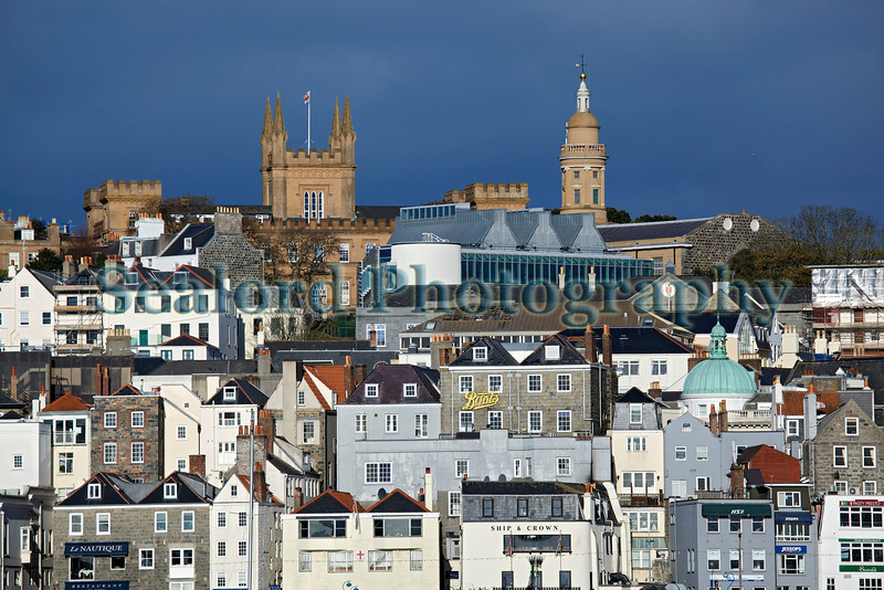 The St Peter Port skyline with Elizabeth College and St James Assembly and Concert Hall
