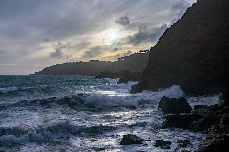 Waves coming into Petit Port on Guernsey's south coast