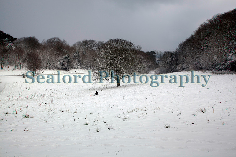 After tobogganing down the hill a young person ends up in the middle of the snow covered valley at the top of Les Val des Terres, St. Peter Port, Guernsey.  Guernsey experienced the heaviest snow fall in 18 years on the night and morning of 2 February 2009.<br /> File No. 020209 1089<br /> ©RLLord<br /> fishinfo@guernsey.net