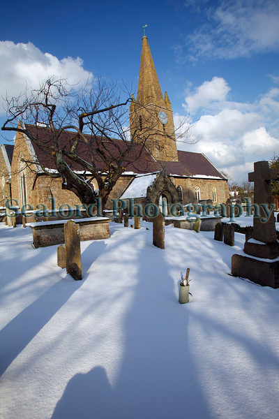 St Martin parish church grave yard covered in snow