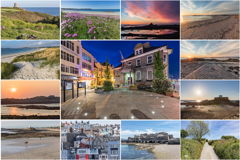 Guernsey scenery postcard collage_