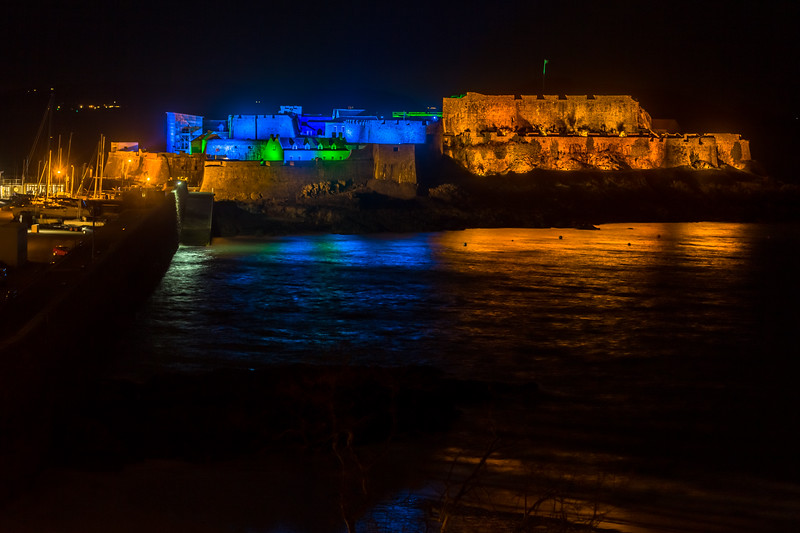 Castle Cornet St Peter Port lit up at night 190316 ©RLLord  smg