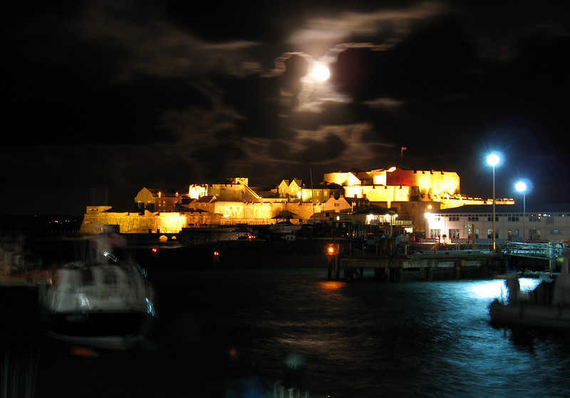 This image of Castle Cornet, which lies at the entrance to St. Peter Port harbour, Guernsey, was taken on the windy night of the 22 March 2008.  The image was taken with a Canon Powershot A640 digital camera.<br /> File No. 220308 3852<br /> ©RLLord<br /> sealordphotography