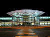 An image of the Guernsey airport terminal building at night on 16 November 2006.  The airport building has an attractive symmetry but it is not evocative of Guernsey.  It has an international character. <br /> File No. 161106 4543<br /> ©RLLord<br /> fishinfo@guernsey.net