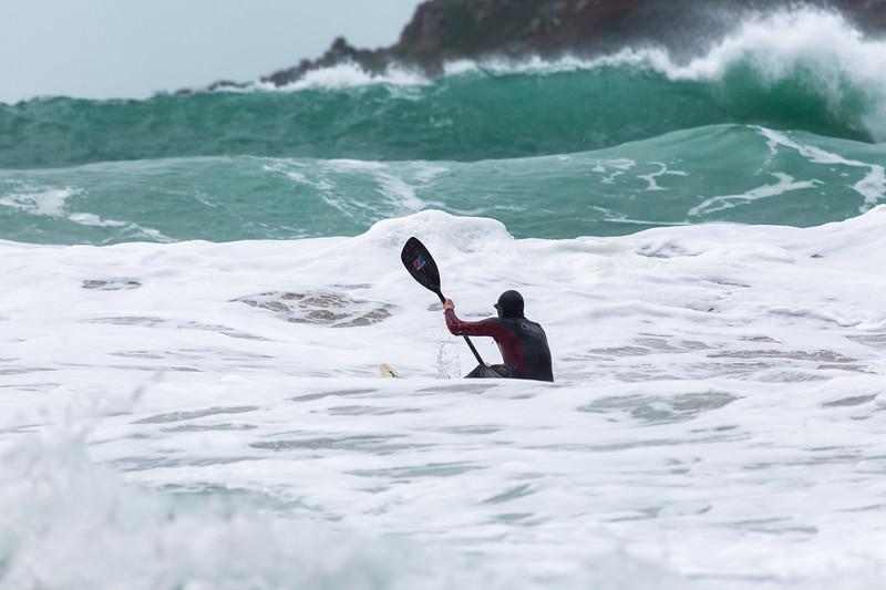 Adam Harvey ventures out from Petit Port on a KS Waveski using a Streamlyte paddle