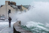 Belle Greve Bay large waves rough sea walker 100416 ©RLLord 9537 smg-2