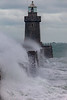 Castle Breakwater lighthouse with wave breaking v 030214 ©RLLord 9609 smg