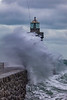 Castle Breakwater lighthouse with wave breaking v 030214 ©RLLord 9607 smg