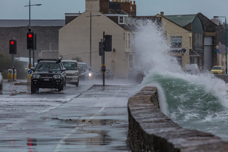 Belle Greve Bay wave rises over sea wall 100416 ©RLLord 9363 smg
