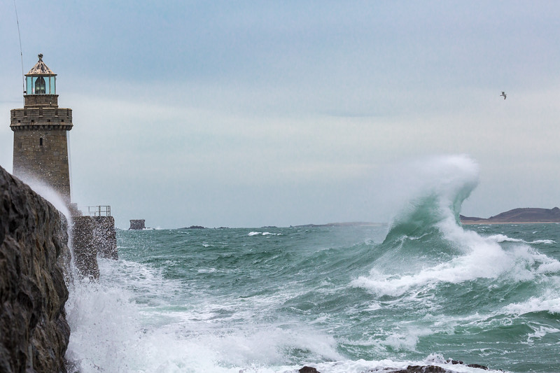 Castle Breakwater Lighthouse rising wave 100416 ©RLLord 9881 smg