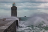 Castle Breakwater lighthouse with wave breaking 030214 ©RLLord 9618 smg