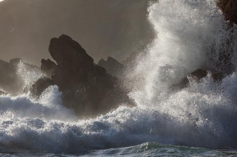 Waves crash into Guernsey's south coast at Petit Port