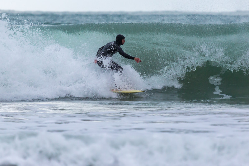 Dave Du Port surfs off Petit Port, Guernsey