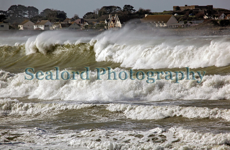 Large waves come ashore in Vazon Bay, Guernsey