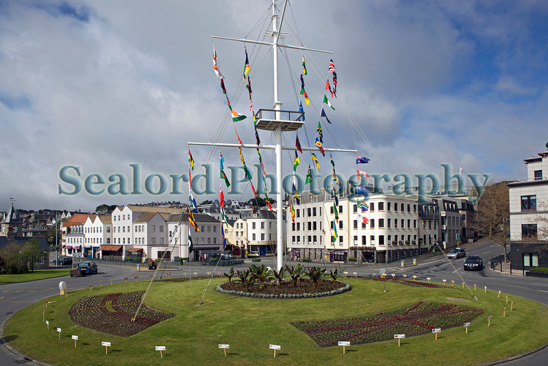 The Weighbridge roundabout in St Peter Port with flower beds celebrating the Queen's Diamond Jubilee