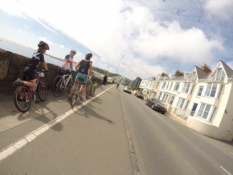 Cycling into St Peter Port at the end of the Rock to Rocque bike ride on 24 May 2015