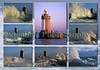Various views of Castle breakwater and the St. Peter Port harbour lighthouse, Guernsey, Channel Islands, Great Britain.  I took the central tall image of the lighthouse bathed in the light of the setting sun on the 17 March 2003.  I took all the surrounding images of the stormy sea on 2 December 2005 at about 0900 during a southerly wind of force 8 or 9.