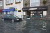 St Peter Port waterfront flooding St Emilion Restaurant baling out 030314 ©RLLord 8593 smg