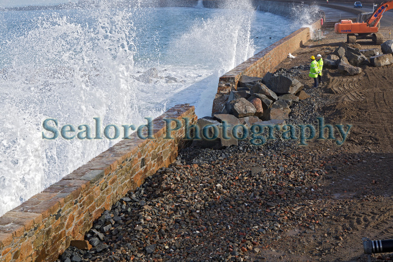 Wave hits Vazon Bay temporary seawall repair 050314 ©RLLord 8712 smg