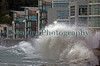 Wave crashes over Bulwer Avenue St Peter Port waterfront 181012 ©RLLord 0928 smg