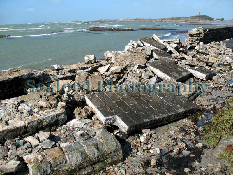 Rocquaine Bay sea wall damaged by severe weather