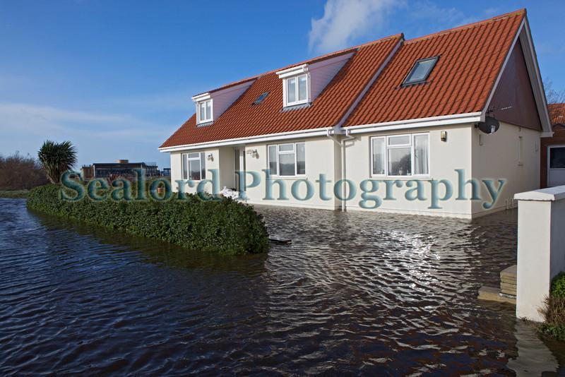 Seawater flooding on Rue des Goddards, Guernsey