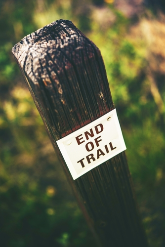 End of Trail Wooden Sign