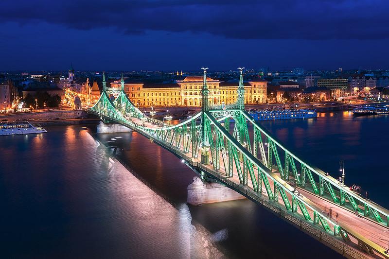 Beautiful Liberty Bridge in Budapest Hungary
