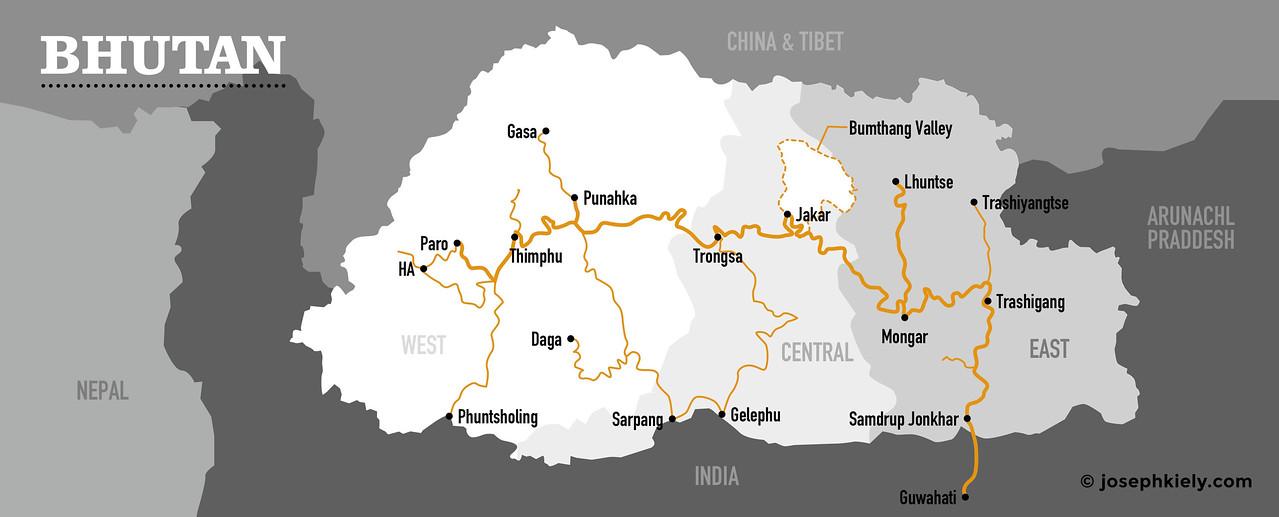Bhutan Map Centered