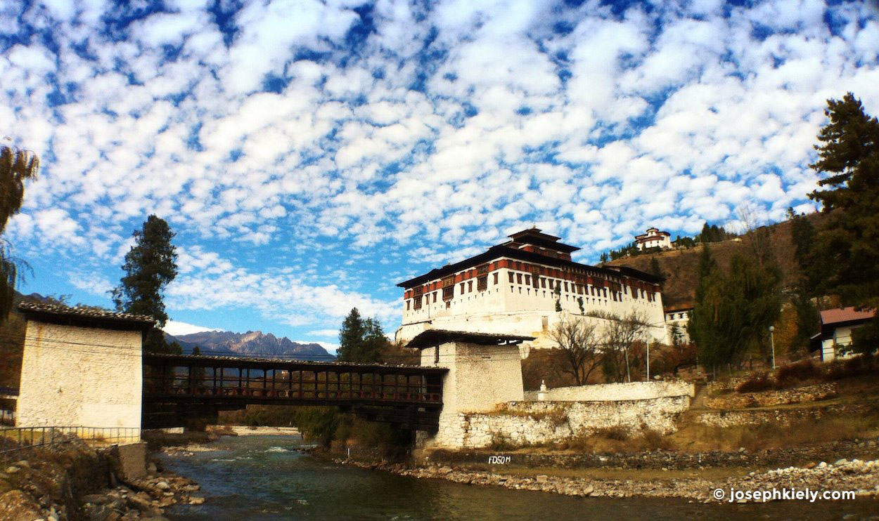 Looking up at the Paro Dzong in Bhutan