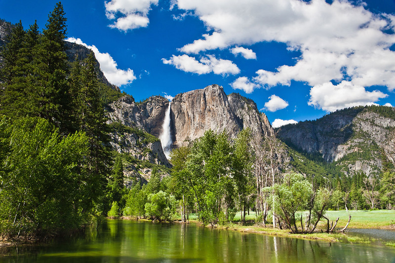 The waterfall in Yosemite National Park