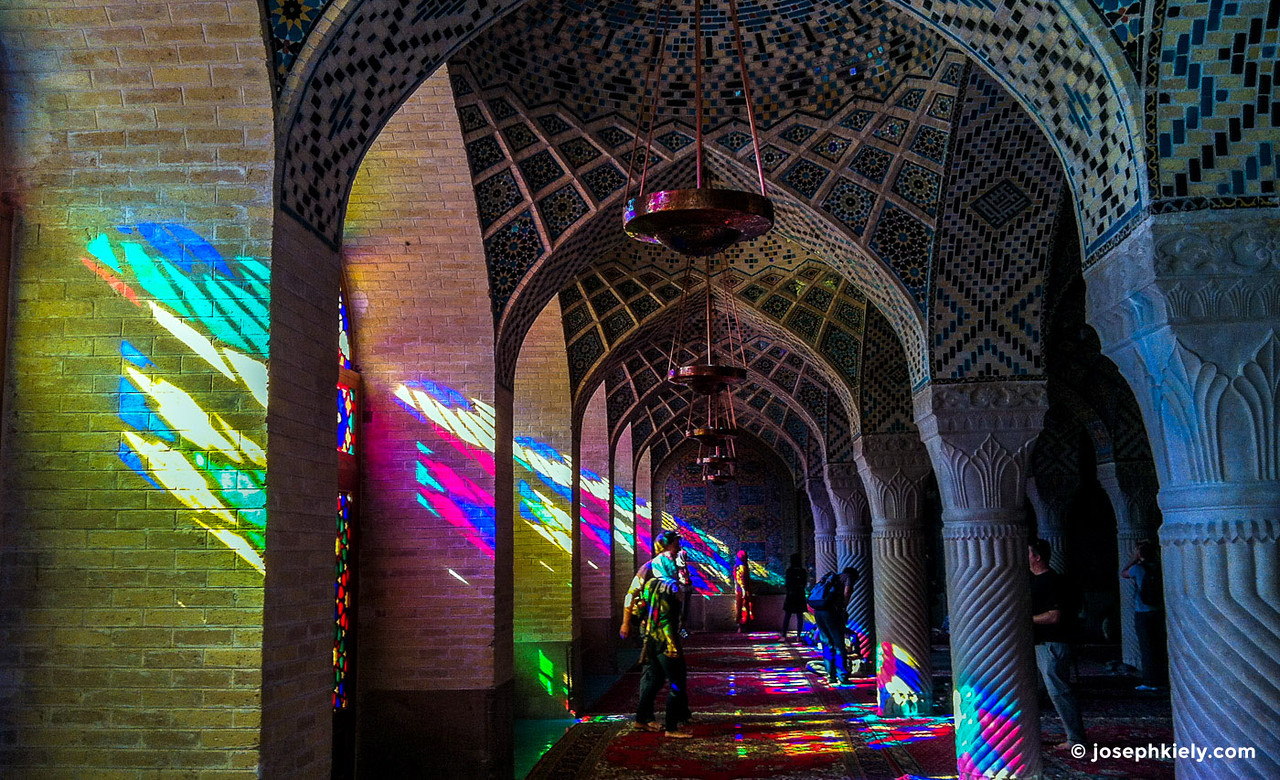 Colorful windows inside the Nasir al-Mulk Mosque in Shiraz, Visit Iran