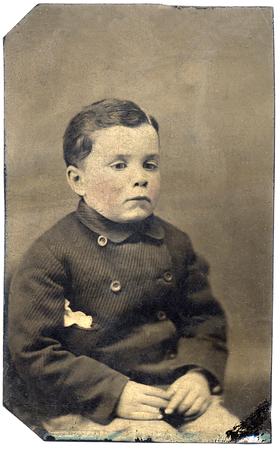 About 1880 Bridgeport, PA  Tintype of Francis E. Keating (1875 - 1943) at about 4 - 6 years old. (Courtesy of David R. Keating, Jr.)